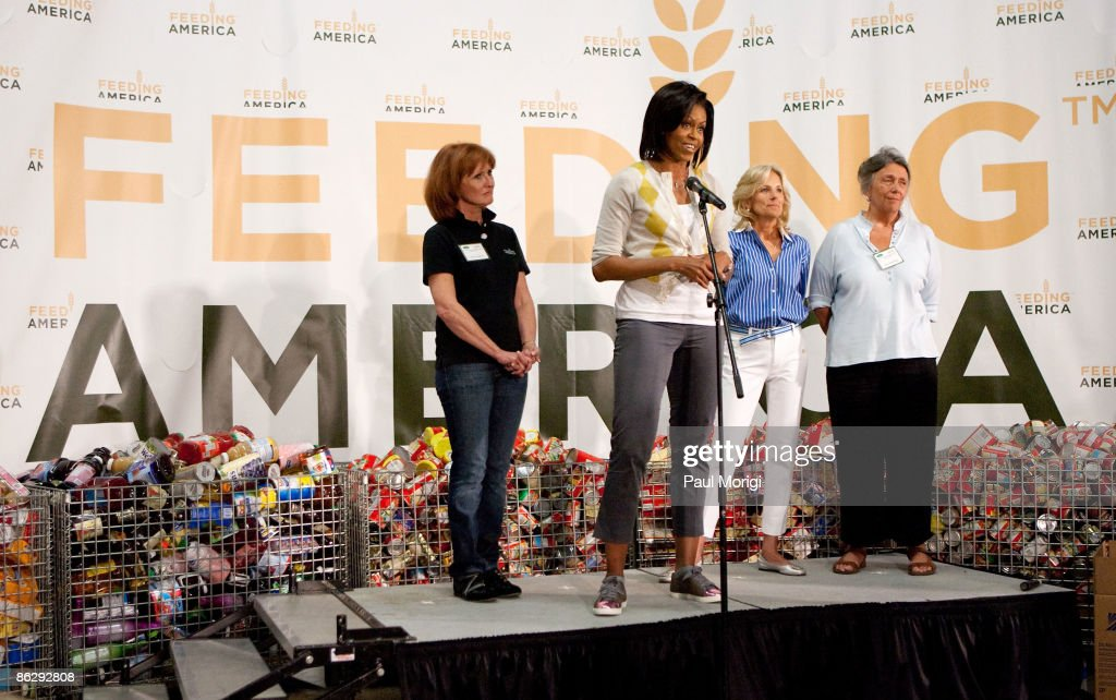 Vicki Escarra President and Chief Executive Officer of Feeding America first lady Michelle Obama Dr Jill Biden wife of Vice President Joe Biden and...