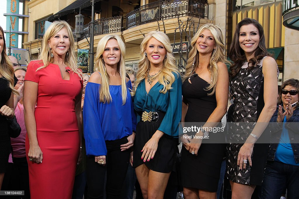 Vicki Gunvalson, Tamra Vieth-Barney, <a gi-track='captionPersonalityLinkClicked' href=/galleries/search?phrase=Gretchen+Rossi&family=editorial&specificpeople=5637804 ng-click='$event.stopPropagation()'>Gretchen Rossi</a>, <a gi-track='captionPersonalityLinkClicked' href=/galleries/search?phrase=Alexis+Bellino&family=editorial&specificpeople=6544408 ng-click='$event.stopPropagation()'>Alexis Bellino</a> and Heather Dubrow visit Extra at The Grove on February 2, 2012 in Los Angeles, California.