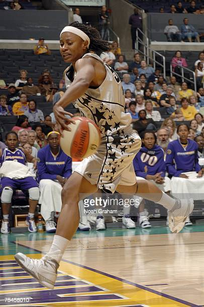 Vicki Johnson of the San Antonio Silver Stars chases the ball out of bounds against the Los Angeles Sparks on July 17 2007 at Staples Center in Los...