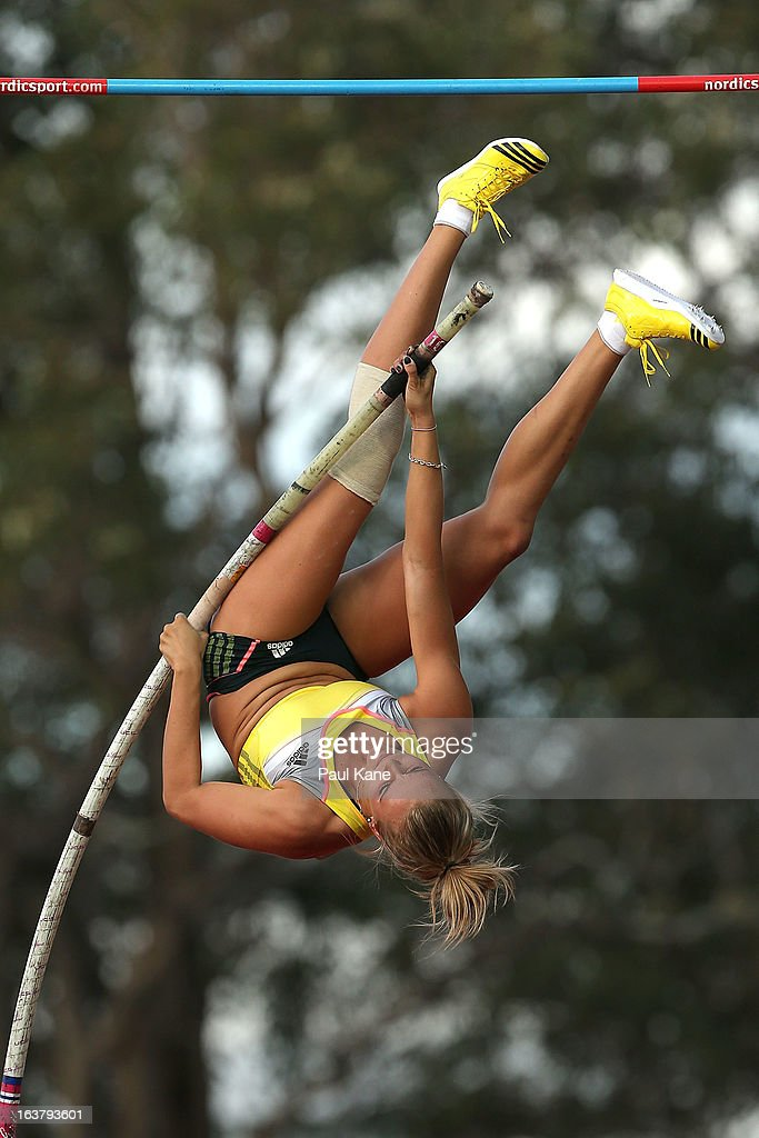 Vicki Parnov competes in the womens open pole vault during the Perth Track Classic at the WA Athletics Stadium on March 16, 2013 in Perth, Australia.