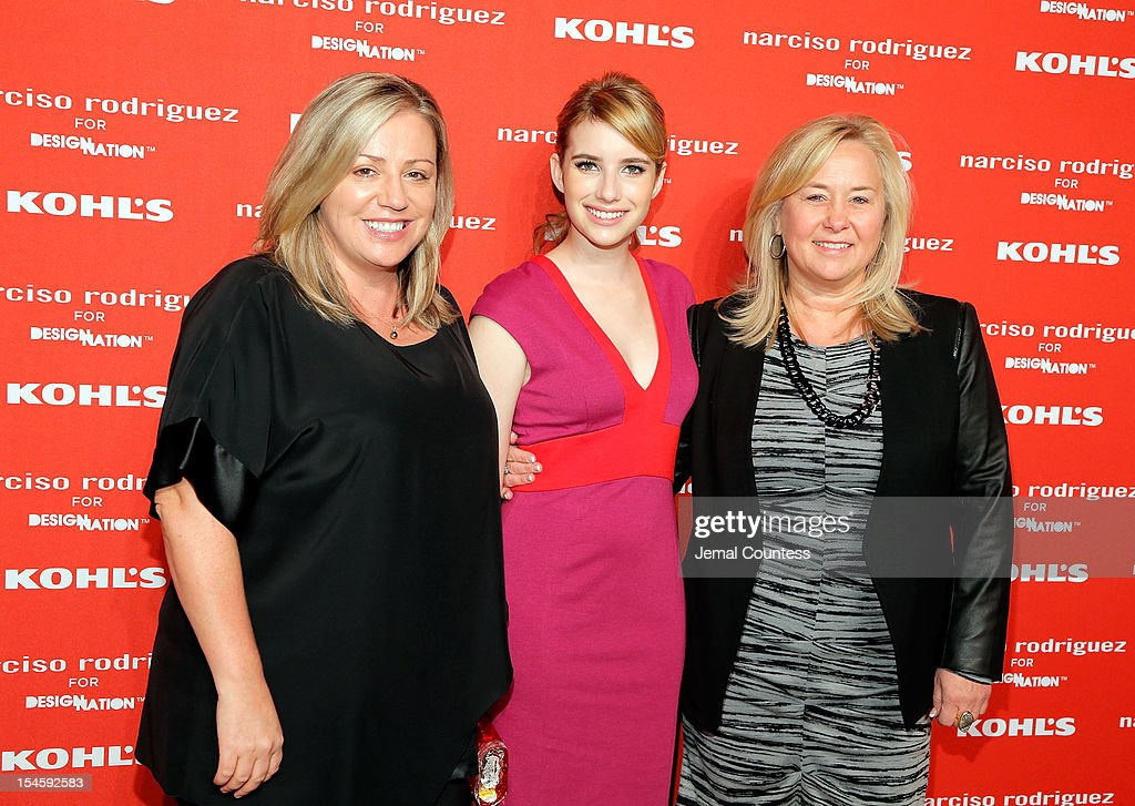 Vicki Shamion, actress Emma Roberts and Julie Gardner attend Narciso Rodriguez Kohl's Collection Launch Party at IAC Building on October 22, 2012 in New York City.