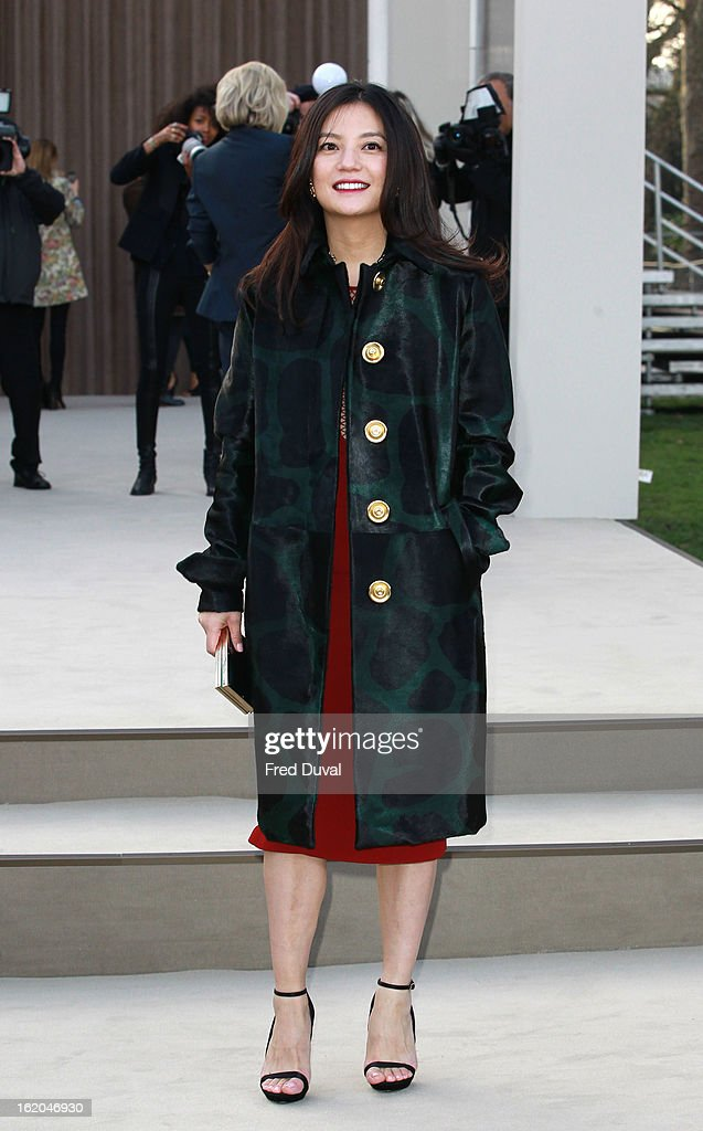 Vicki Zhao is pictured arriving at the Burberry Prorsum during London Fashion Week on February 18, 2013 in London, England.