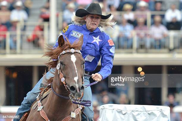 Vickie Carter from Richfield UT in action during Ladies Barrel Racing competition at the Calgary Stampede 2016 Twenty of the world's top competitors...