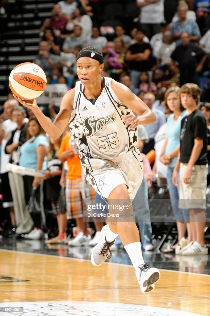 Vickie Johnson of the San Antonio Silver Stars drives the ball up court during the game against the Connecticut Sun on July 17 2009 at the ATT Center...
