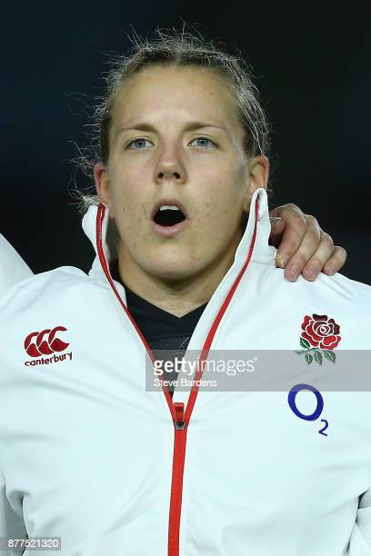 Vickii Cornborough of England Women sings the national anthem prior to the Old Mutual Wealth Series match between England Women and Canada Women at...