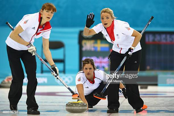 Vicky Adams of Great Britain in action during the round robin match against Sweden during day 3 of the Sochi 2014 Winter Olympics at Ice Cube Curling...