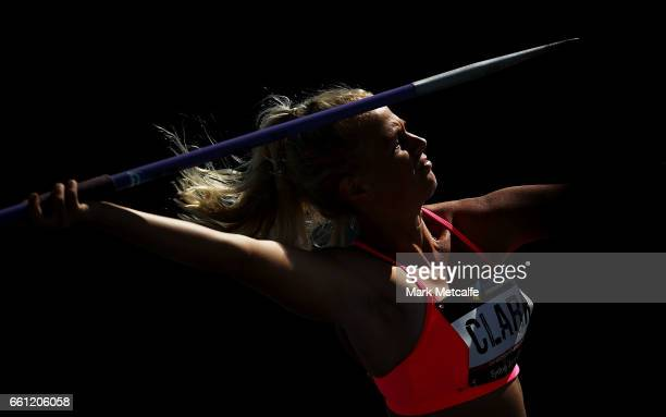 Vicky Clark of Queensland competes in the womens open heptathlon javelin during day six of the Australian Athletics Championships at Sydney Olympic...