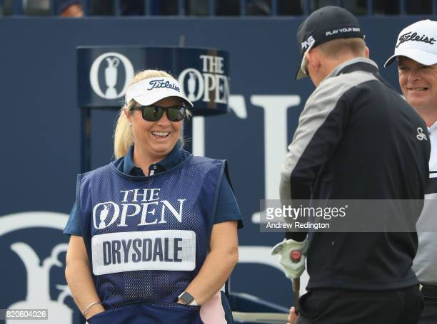 Vicky Drysdale caddie and wife of David Drysdale of Scotland on the 1st tee during the third round of the 146th Open Championship at Royal Birkdale...