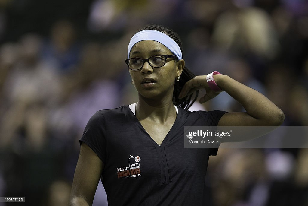 Vicky Duval of the U.S. looks on during the exhibition doubles match against John Isner and Taylor Townsend during the 2013 Mylan WTT Smash Hits on November 17, 2013 at the ESPN Wide World of Sports Complex in Lake Buena Vista, Florida.