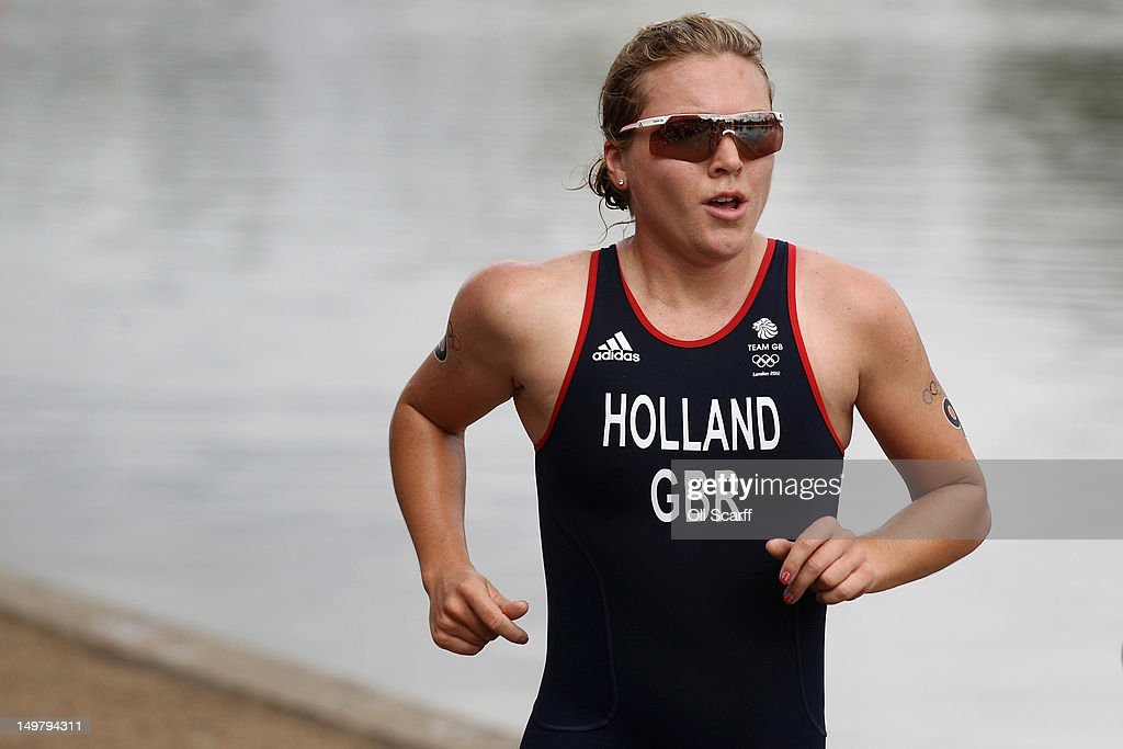 Vicky Holland of Team GB competes in the running stage of the Women's Triathlon event at the London 2012 Olympic Games in Hyde Park which was won by Nicola Spirig of Switzerland on August 4, 2012 in London, England.