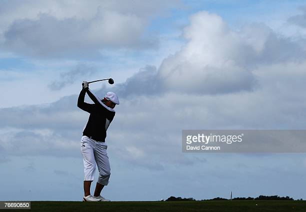 Vicky Hurst of the USA drives at the 16th hole during the singles matches in the 2007 Junior Solheim Cup Matches held at Bastad Golf Club on...