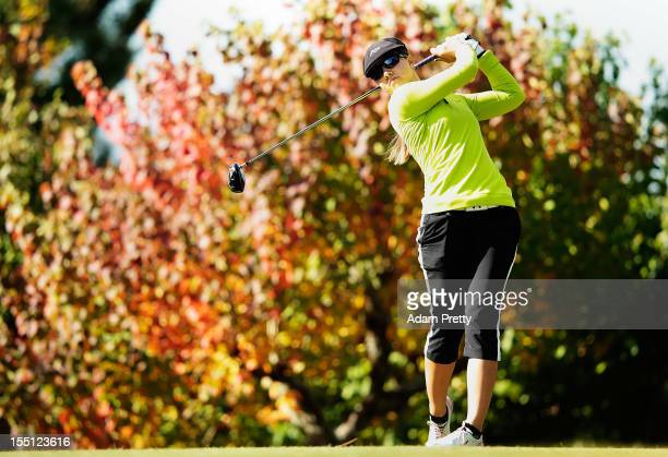 Vicky Hurst of the USA tees off from the 2nd hole during the first round of Mizuno Classic at Kintetsu Kashikojima Country Club on November 2 2012 in...