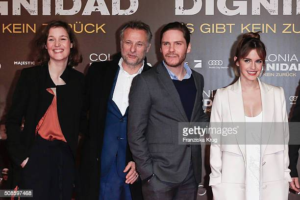 Vicky Krieps Michael Nyqvist Daniel Bruehl and Emma Watson attend the 'Colonia Dignidad Es gibt kein zurueck' Berlin Premiere on February 5 2016 in...