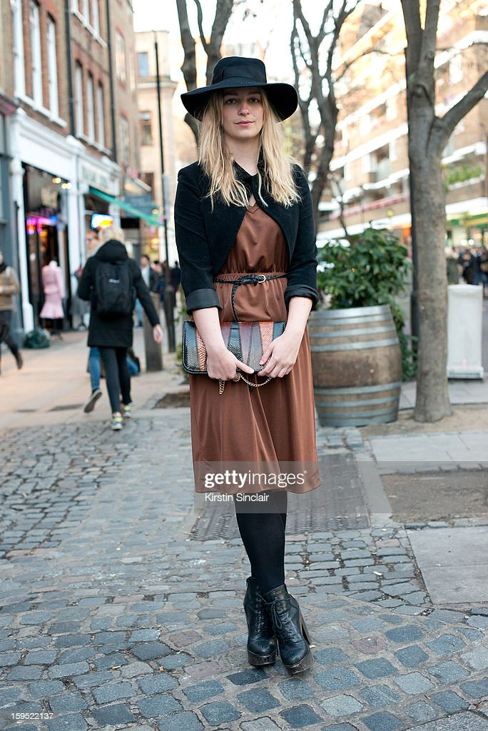 Vicky Lawton creative director at Hunger Magazine wearing Jeffrey Campbell boots and everything else vintage on day 3 of London Mens Fashion Week Autumn/Winter 2013, on January 09, 2013 in London, England.