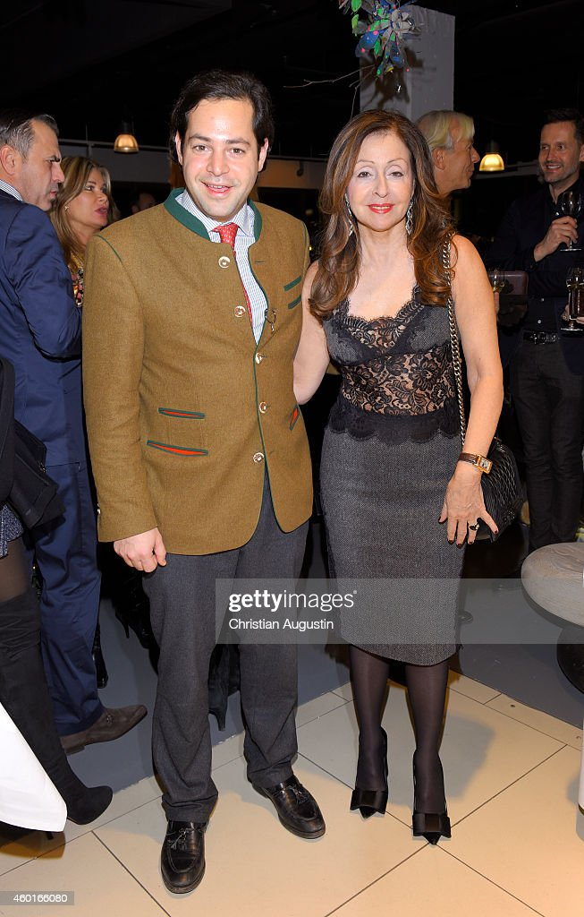 Vicky Leandros and her son Leo Baron von Ruffin attend Dinner Party celebrating her Christmas Tour 2014 Premiere at restaurant Yoshi Alsterhaus on...
