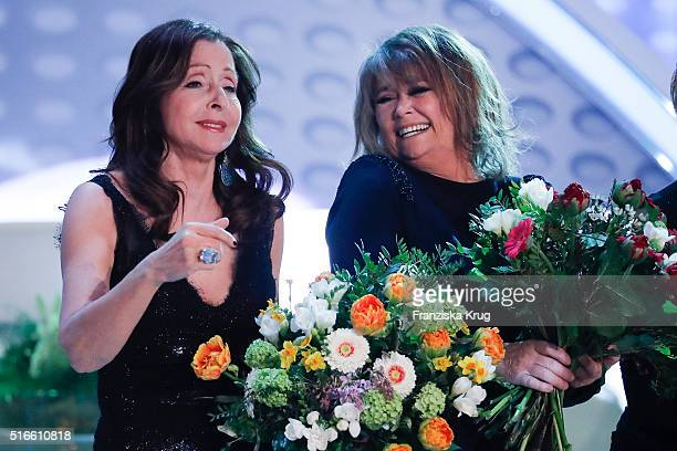 Vicky Leandros and Wencke Myhre during the TV show 'Willkommen bei Carmen Nebel' on March 19 2016 in Magdeburg Germany