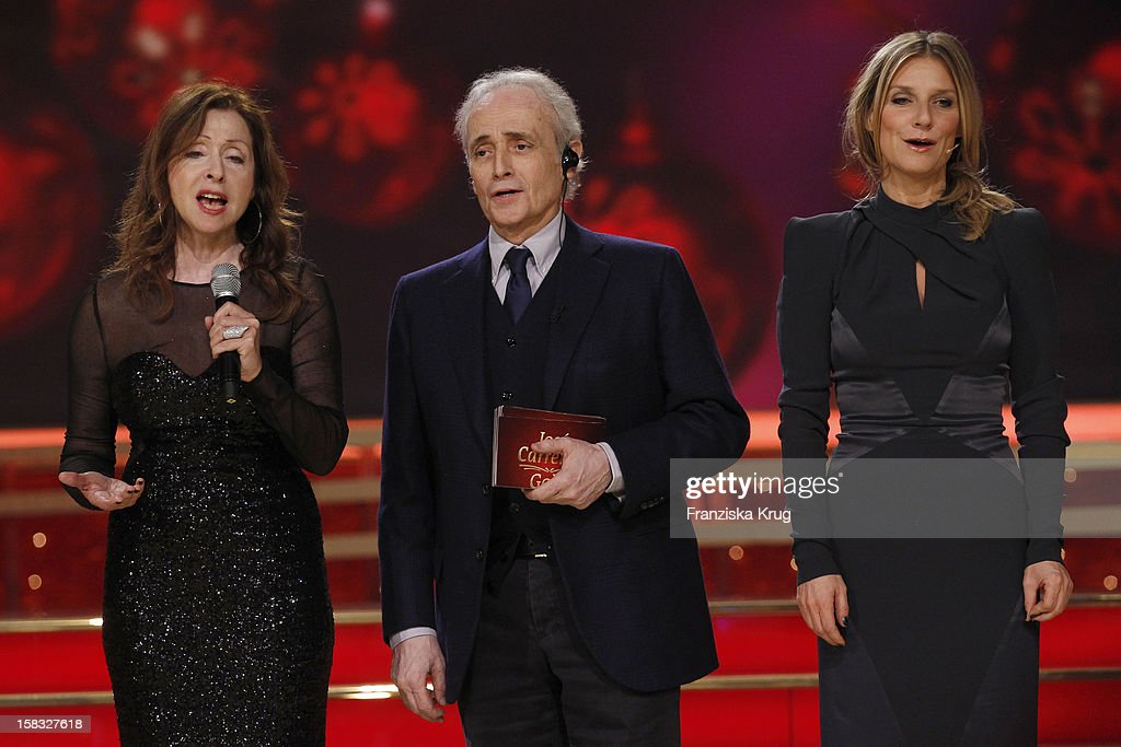 Vicky Leandros, Jose Carreras and Kim Fisher perform during the 18th Annual Jose Carreras Gala - Rehearsals on December 13, 2012 in Leipzig, Germany.