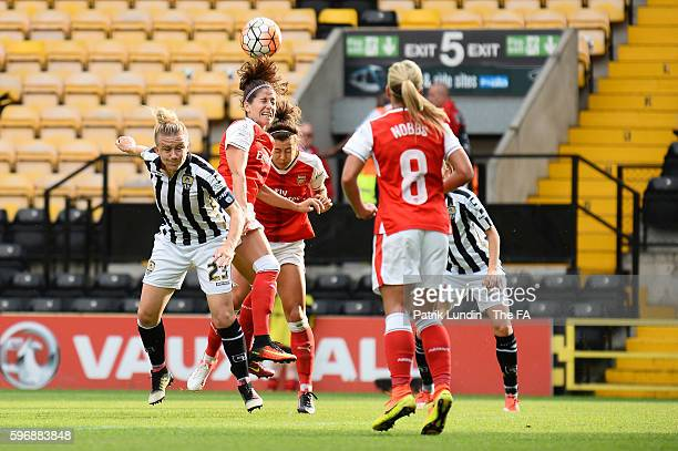 Vicky Losada of Arsenal heads the ball during the match between Notts County Ladies FC and Arsenal Ladies FC on August 28 2016 in Nottingham England