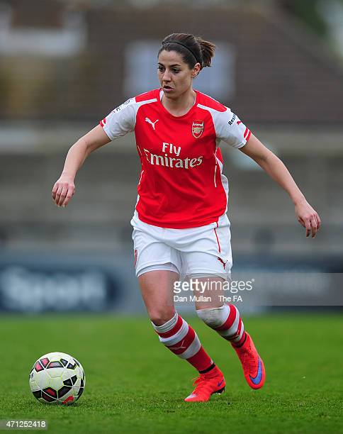 Vicky Losada of Arsenal in action during the WSL match between Arsenal Ladies and Sunderland Ladies at Meadow Park on April 26 2015 in Borehamwood...