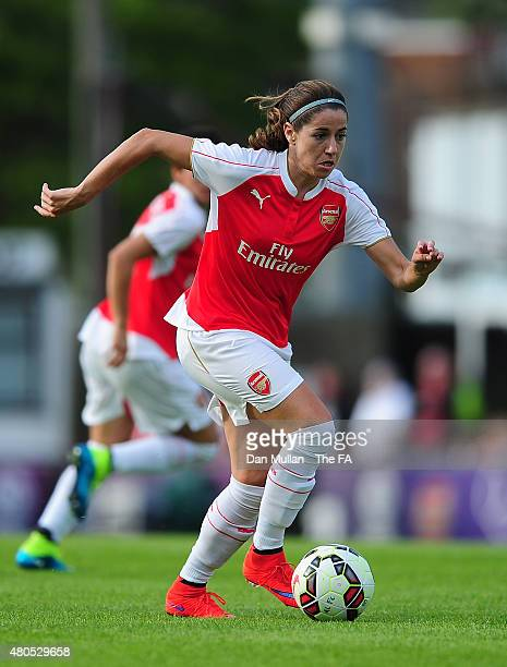 Vicky Losada of Arsenal in action during the WSL match between Arsenal Ladies and Liverpool Ladies at Meadow Park on July 12 2015 in Borehamwood...
