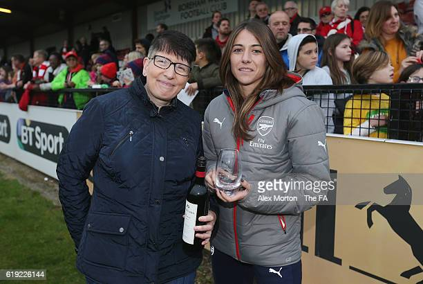 Vicky Losada of Arsenal is presented with the Player Of The Season award after the WSL 1 match between Arsenal Ladies FC and Doncaster Rovers Belles...