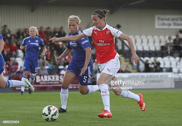 Vicky Losada of Arsenal Ladies FC and Gilly Flaherty of Chelsea Ladies FC during the FA WSL match between Arsenal Ladies FC and Chelsea Ladies FC at...