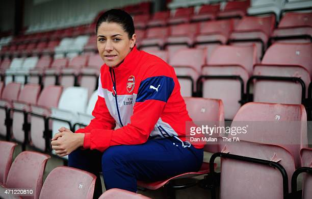 Vicky Losada of Arsenal poses prior to the WSL match between Arsenal Ladies and Sunderland Ladies at Meadow Park on April 26 2015 in Borehamwood...