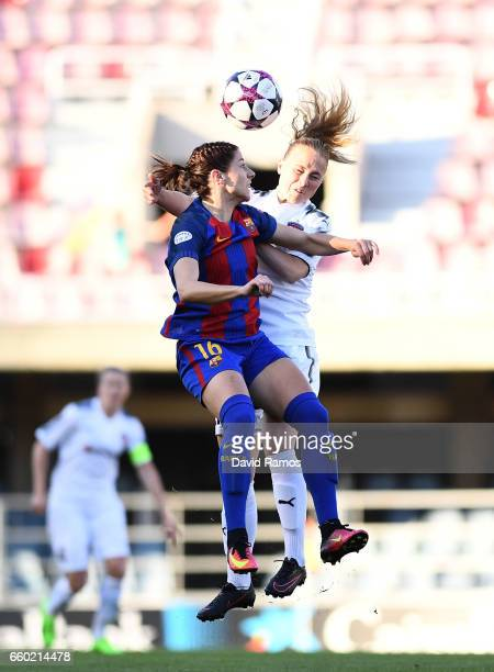 Vicky Losada of Barcelona and Ebba Wieder of Rosengard battle for the ball during the UEFA Women's Champions League QuarterFinal Second Leg match...