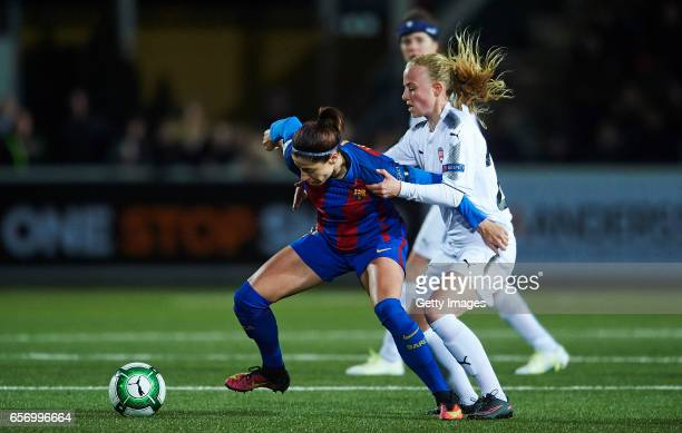Vicky Losada of FC Barcelona and Ebba Wieder of Rosengard compete for the ball during the UEFA Women's Champions League match between Rosengard and...