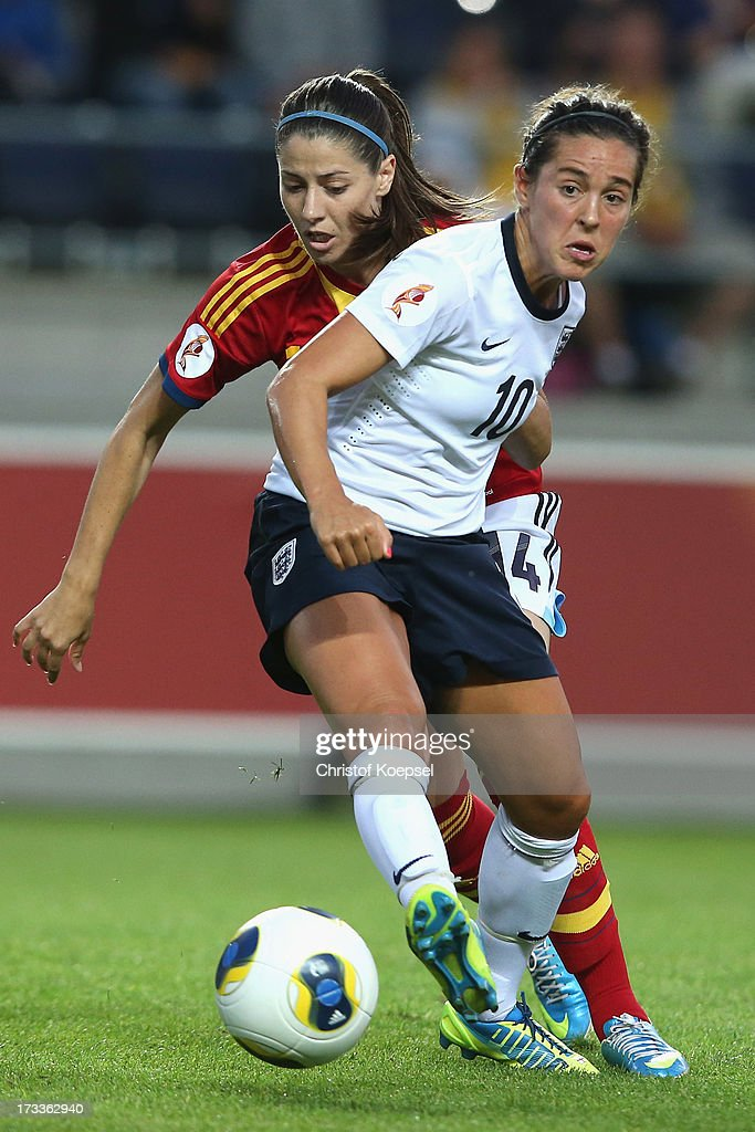 Vicky Losada of Spain challenges Gemma Bonner of Englandduring the UEFA Women's EURO 2013 Group C match between England and Spain at Linkoping Arena on July 12, 2013 in Linkoping, Sweden.