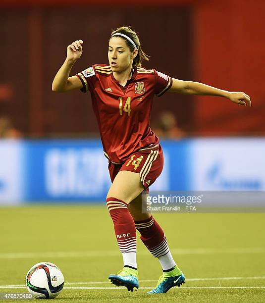 Vicky Losada of Spain is challenged by of Costa Rica during the FIFA Women's World Cup 2015 group E match between Spain and Costa Rica at Olympic...