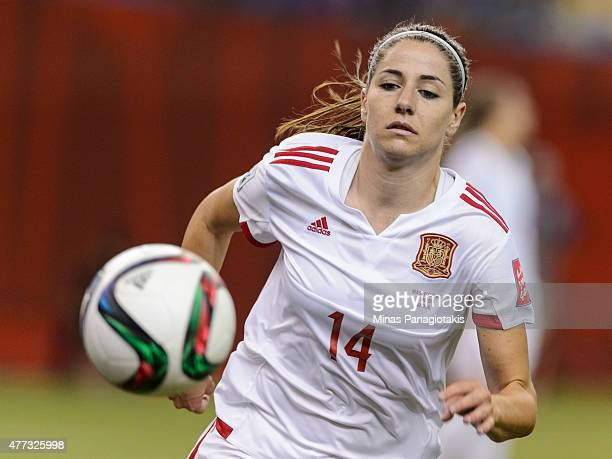 Vicky Losada of Spain runs after the ball during the 2015 FIFA Women's World Cup Group E match against Brazil at Olympic Stadium on June 13 2015 in...