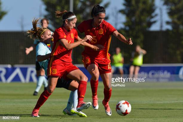 Vicky Losada Silvia Meseguer during a friendly match between the national women's teams of Spain vs Belgium in Pinatar Arena Murcia Spain Friday June...