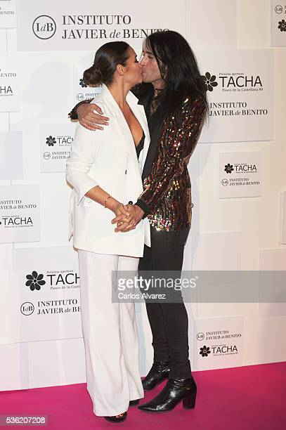 Vicky Martin Berrocal and Mario Vaquerizo attend Tacha Beauty and Javier De Benito Institute party at the Santa Coloma Palace on May 31 2016 in...