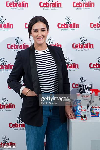 Vicky Martin Berrocal poses during a photocall to present 'El Arte En Las Telas' at '1001 Atmosfera' gallery on April 8 2015 in Madrid Spain
