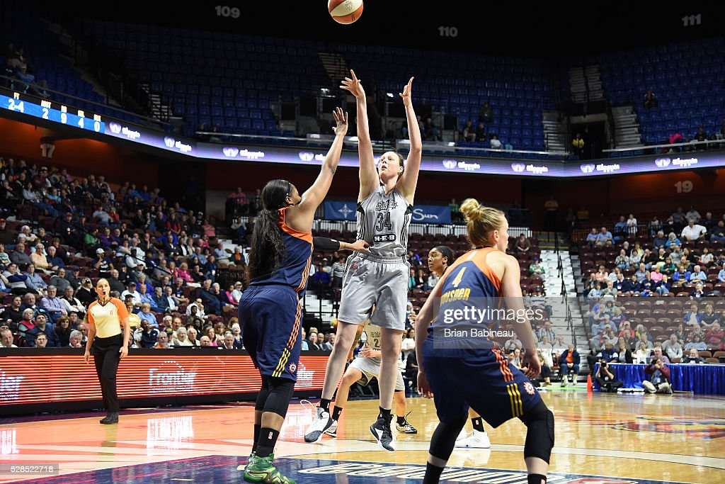 Vicky McIntyre #34 of the San Antonio Stars shoots the ball against the Connecticut Sun in a WNBA preseason game on May 5, 2016 at the Mohegan Sun Arena in Uncasville, Connecticut.