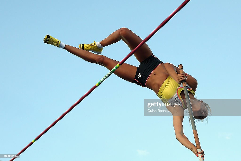 Vicky Parnov of Australia jumps in the Women's Pole Vault during the 2013 Melbourne Track Classic at Olympic Park on April 6, 2013 in Melbourne, Australia.
