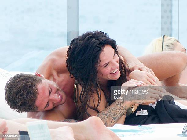 Vicky Pattison and boyfriend Stephen Bear are seen enjoying a beach club on August 10 2015 in Ibiza Spain