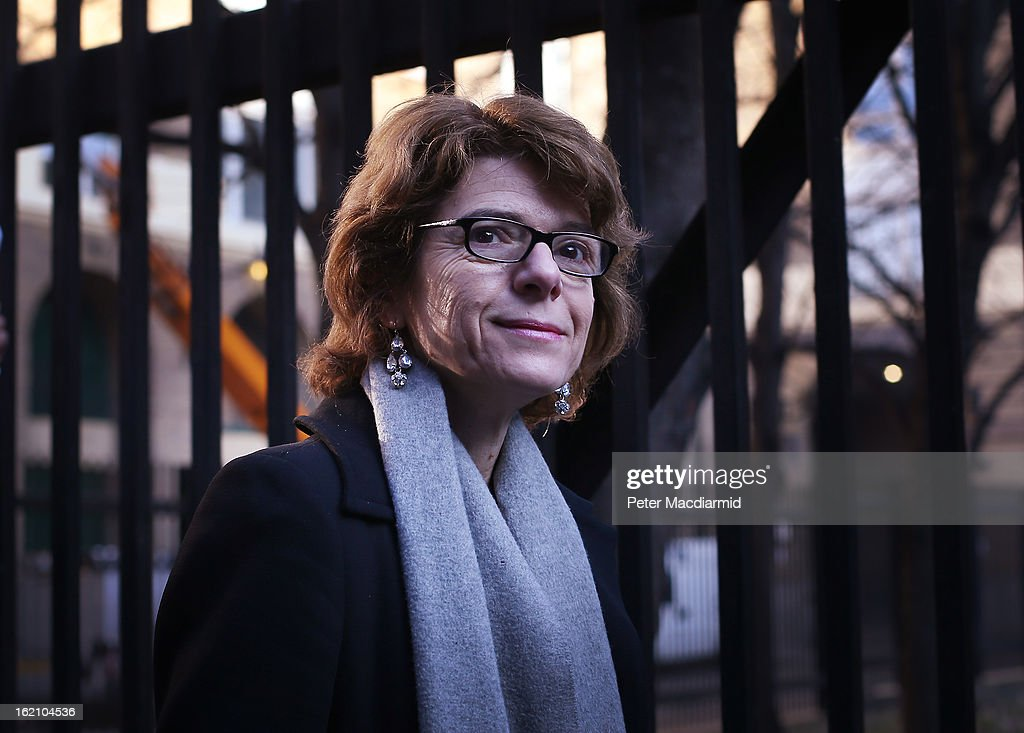 Vicky Pryce, ex-wife of Chris Huhne, arrives at Southwark Crown Court on February 19, 2013 in London, England. Former Cabinet member Chris Huhne has pleaded guilty to perverting the course of justice over claims his ex-wife took speeding points for him in 2003. Ms Pryce, 60, has pleaded not guilty to the same offence on grounds of marital coercion.