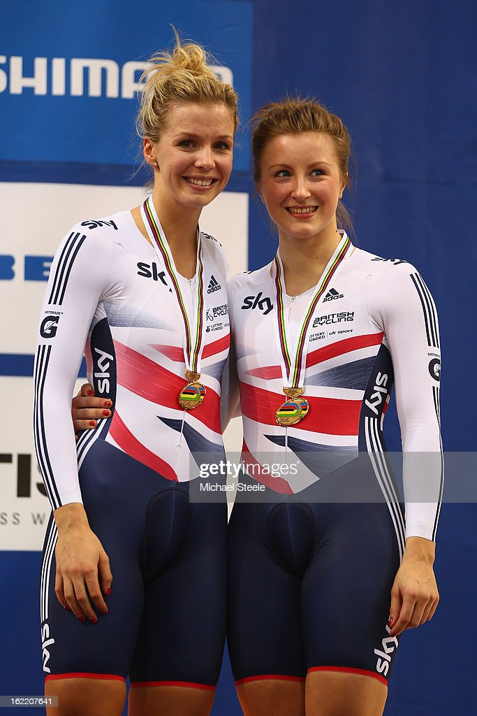 Vicky Williamson (R) and Rebecca James (L) of Great Britain celebrate with their bronze medal in the women's team sprint during day one of the UCI Track World Championships at Minsk Arena on February 20, 2013 in Minsk, Belarus.