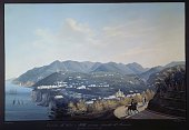 Vico Equense and the new road to Sorrento by Francesco Fergola tempera 42x66 cm Italy 19th century