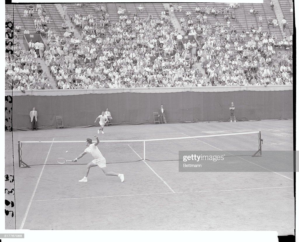 Vic Seixas Returning Tennis Ball