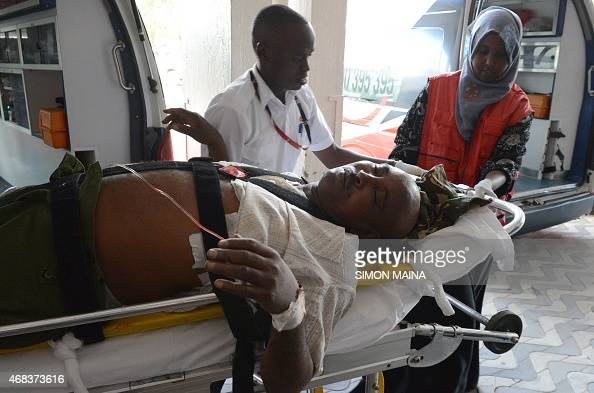 A victim of the attack on a Kenyan university the Garissa University College campus in north eastern Kenya arrives at the Kenyatta hospital on April...