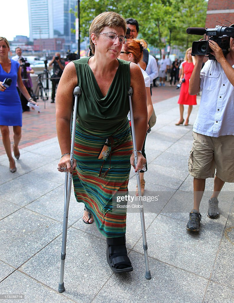 A victim of the first bombing, Karen Brassard from Epsom, N.H., arrived. Her husband, Ron Brassard, was also severely injured. Alleged Boston Marathon bomber Dzhokhar Tsarnaev appeared for an arraignment at the John Joseph Moakley United States Courthouse to face charges in the Boston Marathon bombings.