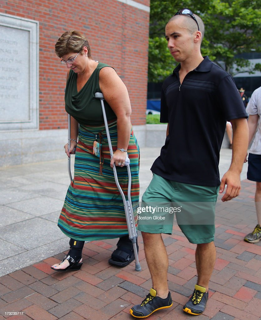 A victim of the first bombing, Karen Brassard from Epsom, N.H., arrives with Robert Wheeler, a Framingham State University student. Wheeler, who ran the marathon, took off his t-shirt and used it as a tourniquet on Karen's husband Ron Brassard, who was also severely injured. Alleged Boston Marathon bomber Dzhokhar Tsarnaev appeared for an arraignment at the John Joseph Moakley United States Courthouse to face charges in the Boston Marathon bombings.