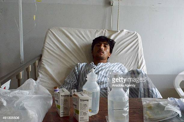 A victim of the US Airstrike on Doctors Without Borders Hospital in Kunduz receives treatment at the MazareSharif Regional Hospital in Balkh...