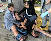 victims at the blast scene after an explosion during a peace march in Ankara October 10 2015 Turkey At least 30 people have been killed and 130...