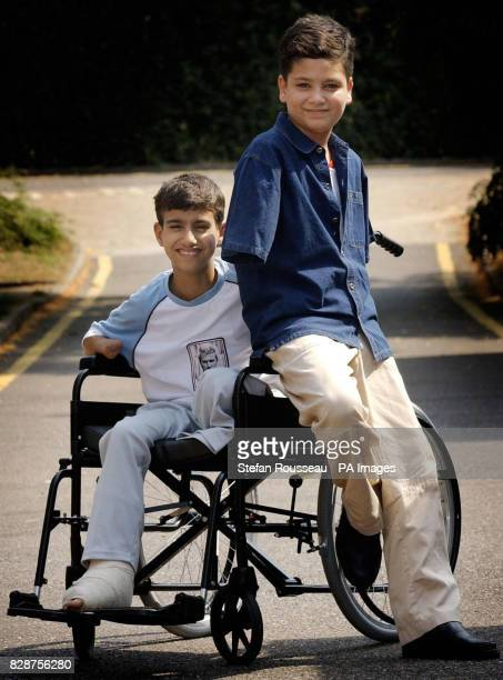 Victims of the war in Iraq fourteenyearold Ahmad Mohammed Hamza and Ali Ismaeel Abbas arrive at Queen Mary's Hospital Roehampton in south London...