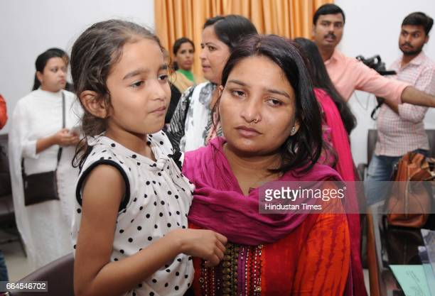 Victims of triple talaq meet UP Women and Family Welfare Minister Rita Bahuguna Joshi at the assembly on April 4 2017 in Lucknow India The Bharatiya...