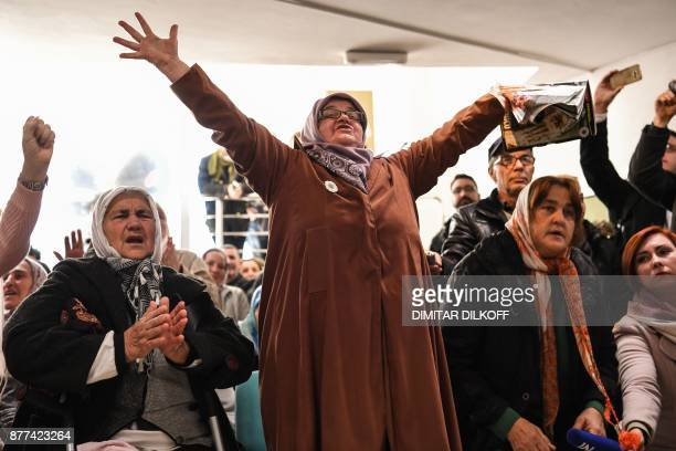 TOPSHOT Victims' relatives react as they watch a live TV broadcast from the International Criminal Tribunal for the former Yugoslavia in a room at...